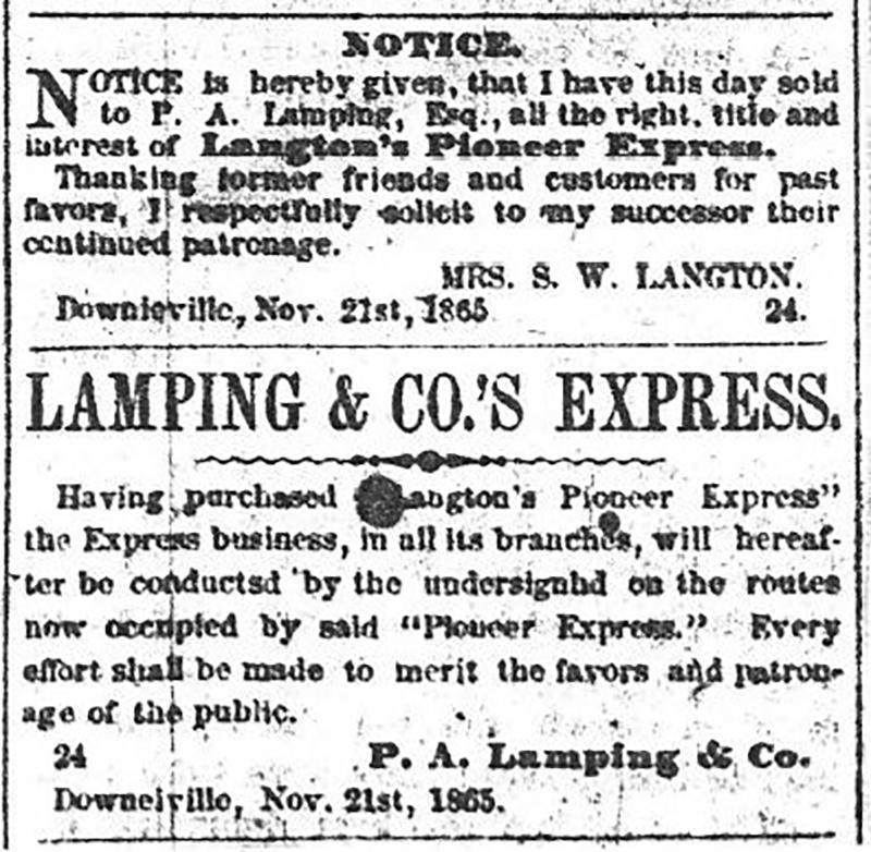 Downieville Mountain Messenger Notice Nov 25 1865