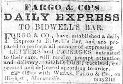 Fargo & Co's Daily Express To Bidwells Bar, 1853 Marysville Herald