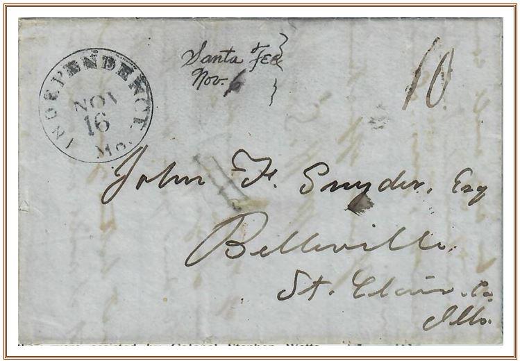 Figure No. 39 November 6, 1847 Santa Fee New Mexico To John F. Snyder Belleville, Illinois