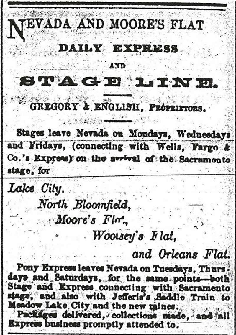 Nevada and Moores Flat Daily Express First Ad