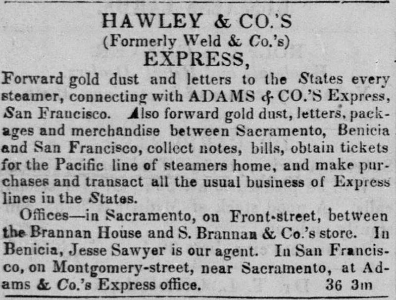 Hawley & Co's Express Sacramento Placer