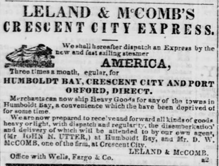 Leland & McCombs Crescent City Express Advertisement