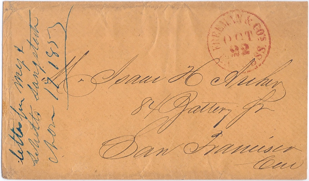 Letter by Freeman & Co's Express Oct 22 1855