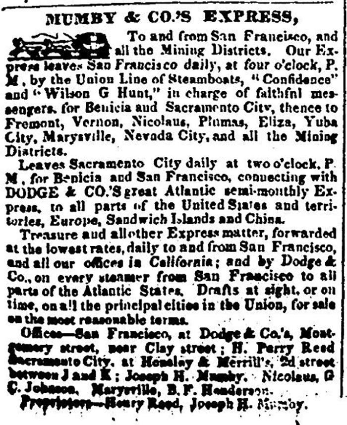 Mumby & Co's Express Sacramento Transcript