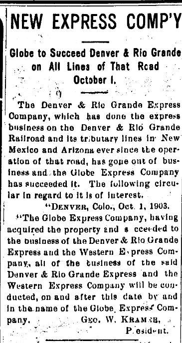 New Express Company Denver and Rio Grande Express