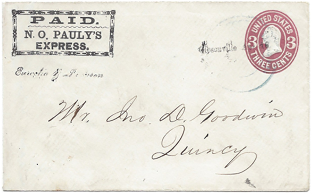 Paid N. O. Pauly's Express Type 3 printed frank