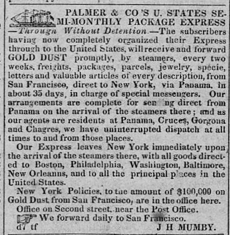 Palmer & Co. Semi-monthly Package Express, Sacramento Transcript