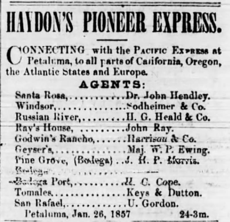 Petaluma Sonoma County Journal Ad from 1855 to 1857