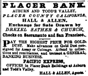 Placer Bank Auburn and Todd's Valley, Exchange for sale drawn by Drexel Sather & Church