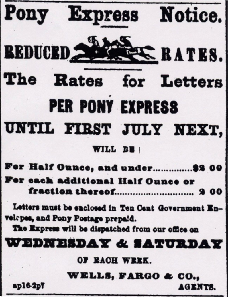 Pony Express Notice Reduces Rates