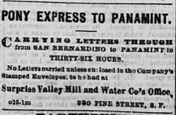 Pony Express to Panamint Ad