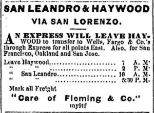 San Leandro & Haywood Advertisement