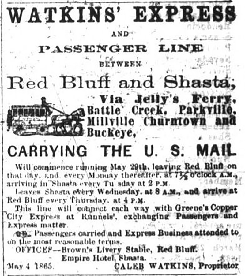 Watkins Express and passenger line between Red Bluff and Shasta