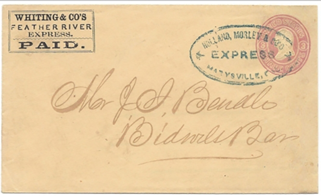 By Whiting & Co.'s Feather River Express. PAID. in their printed frank to Marysville