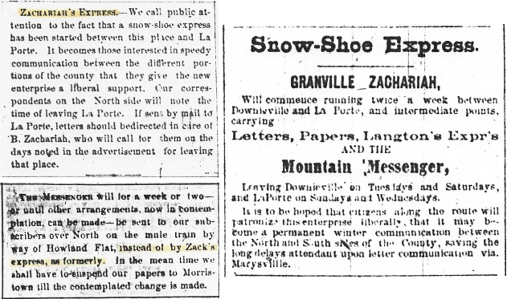 First Announcement and Ad for Zack's Snow-Shoe