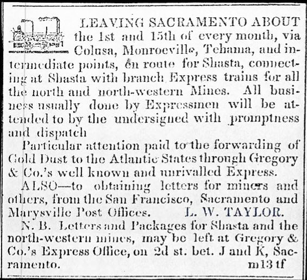 First Ad for Taylor's Express in the Shasta Courier