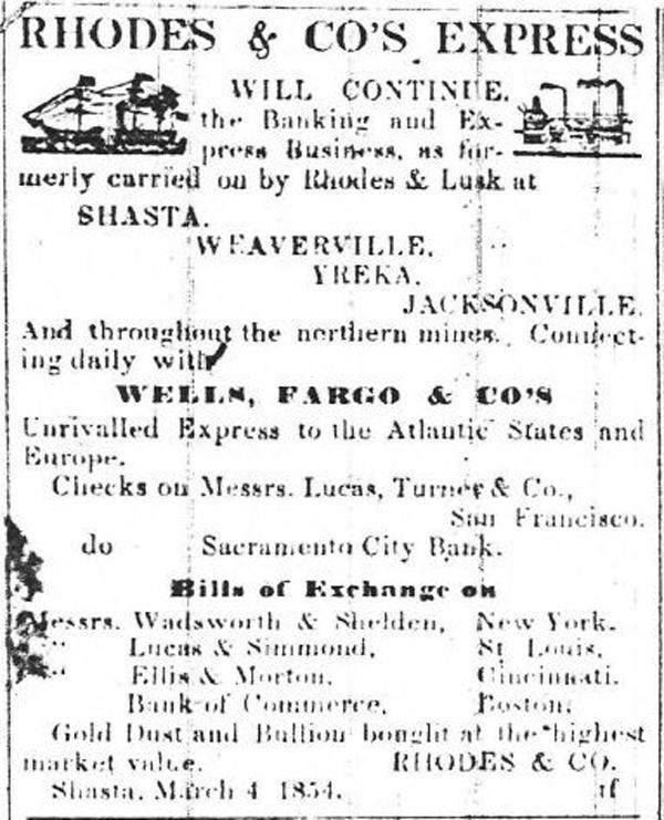 First ad, Mar 4, 1854 Shasta Courier