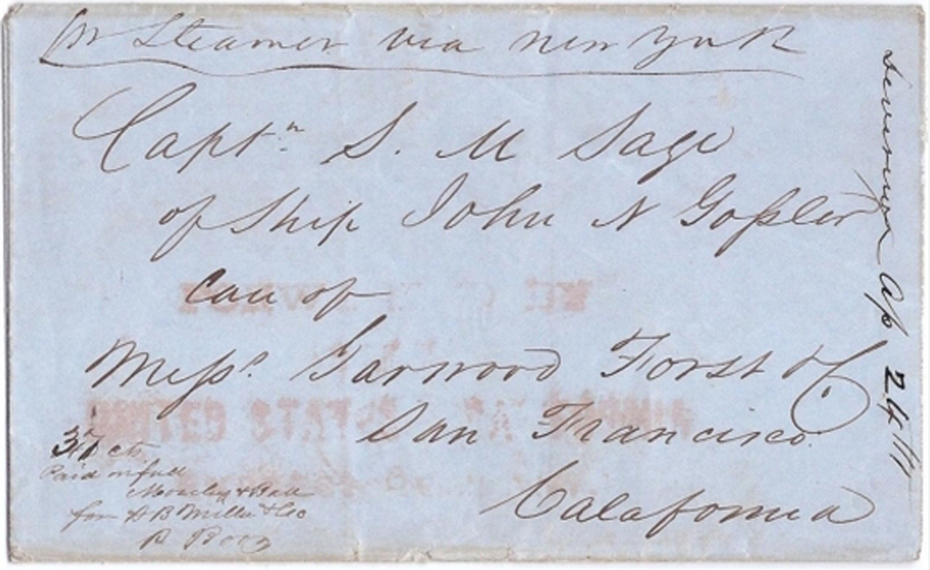 Letter Forwarded by the United States & California Express Co.