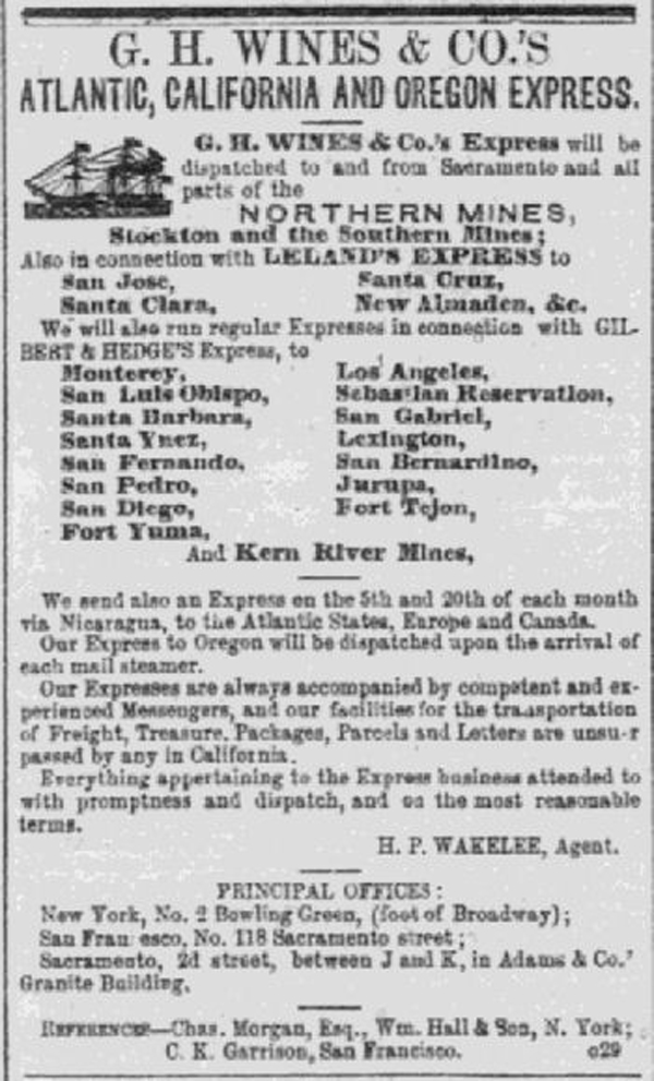 G. H. Wines & Co San Francisco Daily Placer Times & Transcript