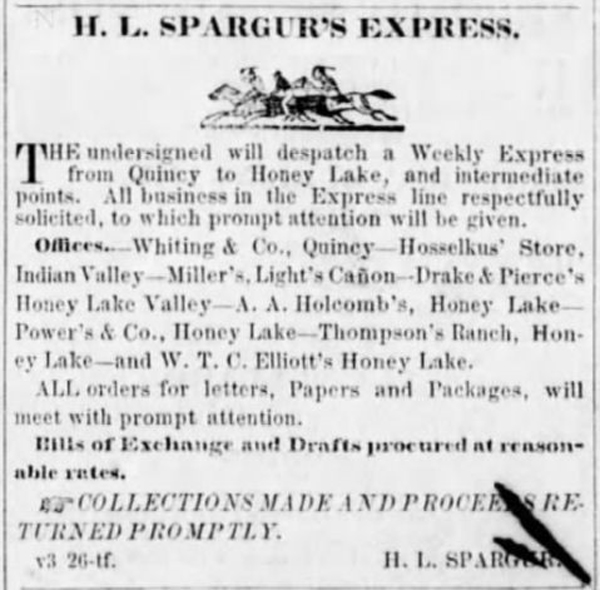 Jul 26, 1860 Quincy Plumas Argus, earliest ad