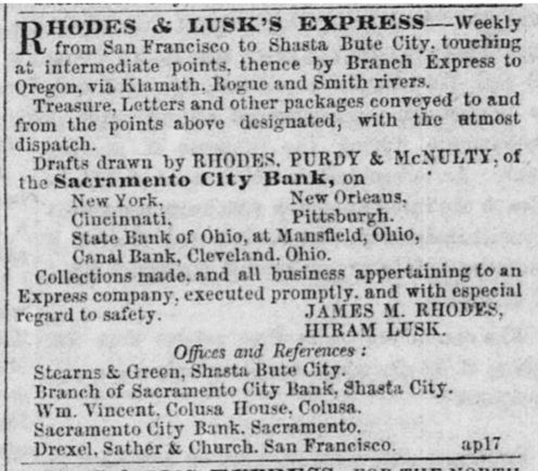 Rhodes & Lusk's Express First Ad