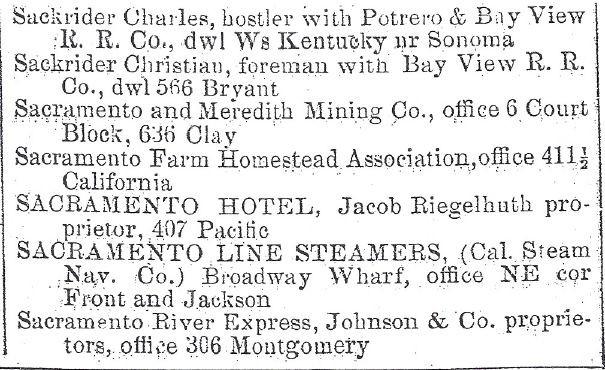 San Francisco Directory Showing Johnson & Co. proprietors