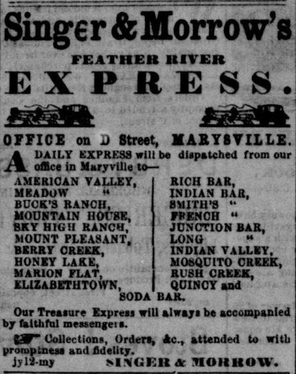 Singer & Morrows Feather River Express First Ad
