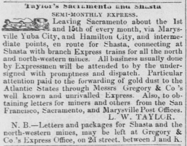 Sacramento Daily Union ad of Nov 4, 1851