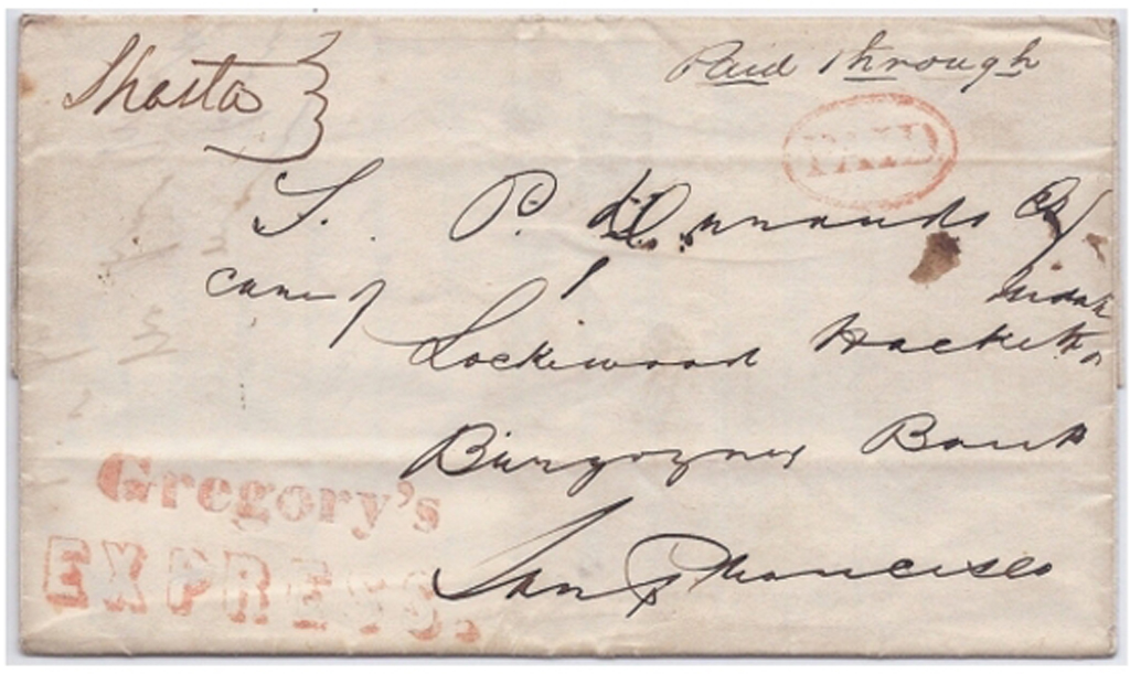 Gregory's Express with PAID to San Francisco on folded letter signed March 2, 1852