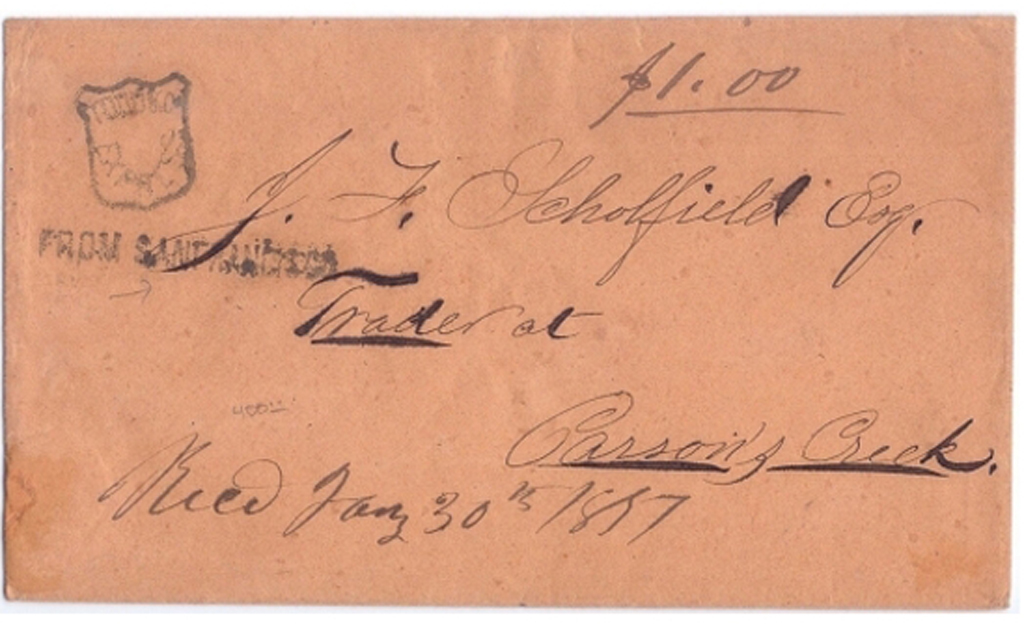 Todd & Co.'s Express with their large From San Francisco handstamp